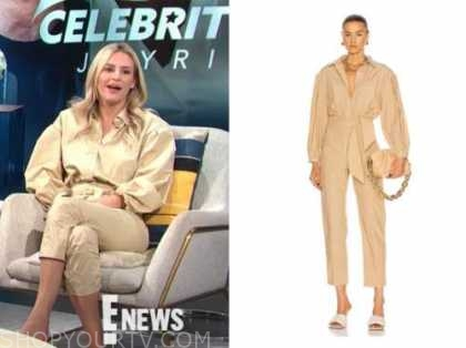 Morgan Stewart mcgraw, e! news, daily pop, beige puff sleeve jumpsuit
