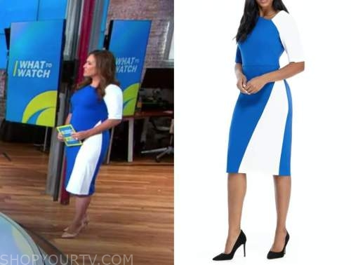 Nikki battiste, cbs this morning, blue and white colorblock dress