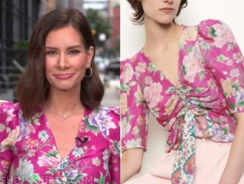 Rebecca Jarvis, good morning America, pink floral top
