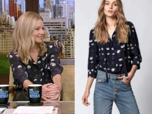 Kelly Ripa, navy blue dot blouse, live with Kelly and Ryan