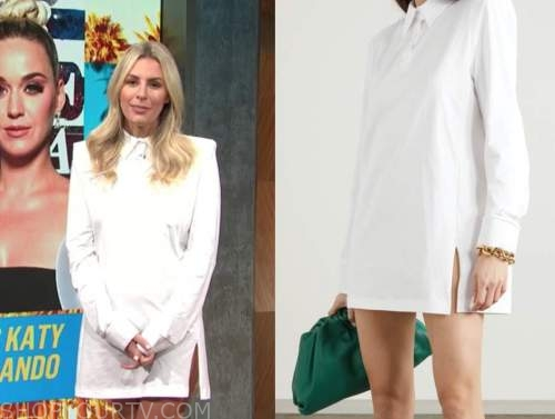 Morgan Stewart, E! news, daily pop, white shirt dress