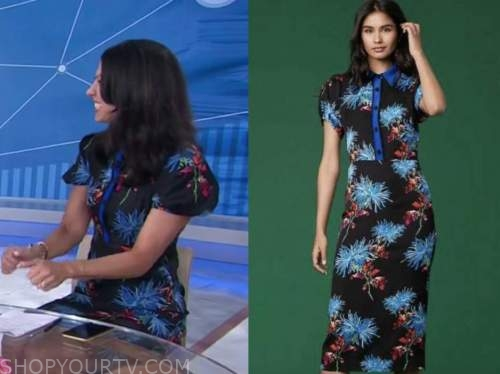 dr. Natalie azar, the today show, black and blue floral shirt dress