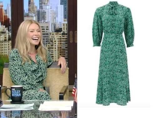 Kelly Ripa, live with kelly and Ryan, green printed tie neck midi dress