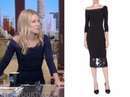 Kelly Ripa, live with kelly and Ryan, navy blue lace sheath dress