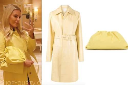 Morgan Stewart, celebrity fashion, yellow coat, yellow pouch bag