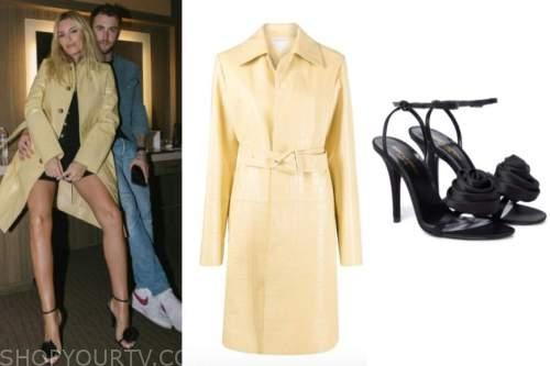 Morgan Stewart, yellow coat, black rose heels,