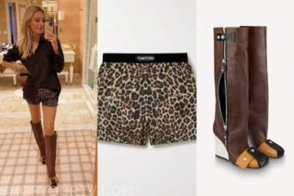 Morgan Stewart, leopard shorts, colorblock wedge boots