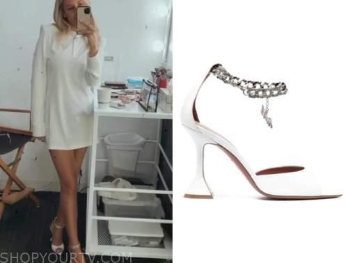 Morgan Stewart, E! news, daily pop, white chain ankle strap sandals