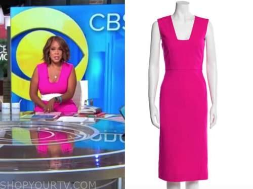 Gayle king, cbs this morning, pink dress