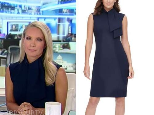 dana perino, America's newsroom, blue tie neck sheath dress