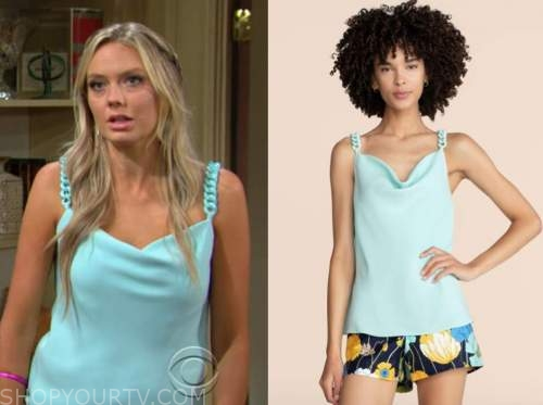 abby newman, melissa ordway, the young and the restless, blue chain strap top