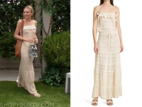 reylynn caster, faith Newman, the young and the restless, ivory pointelle maxi dress