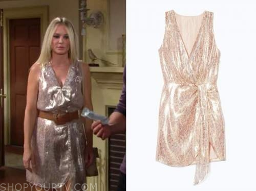 sharon newman, Sharon case, the young and the restless, blush metallic dress