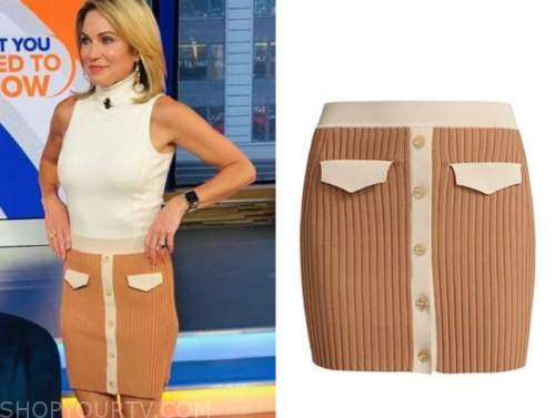 Amy Robach, tan knit skirt, good morning America, gma3