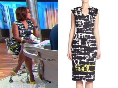 Gayle king, cbs this morning, abstract sheath dress