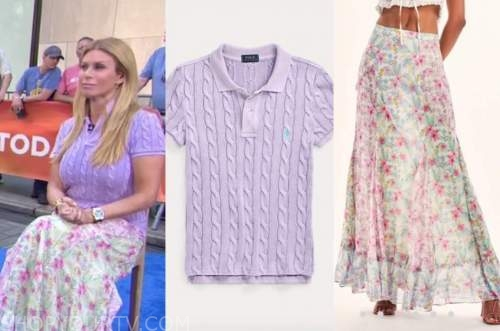 Jill Martin, the today show, purple cable knit polo, floral skirt