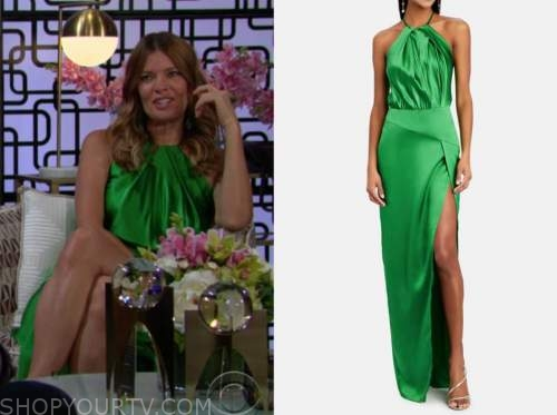 Phyllis newman, Michelle stafford, the young and the restless, green satin halter dress