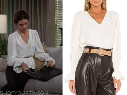 Victoria Newman, Amelia heinle, the young and the restless, white v-neck blouse