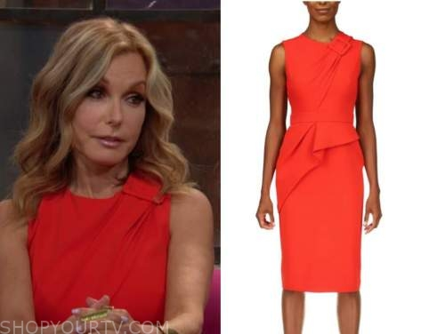 Lauren fenmore Baldwin, tracey bregman, red buckle dress, the young and the restless