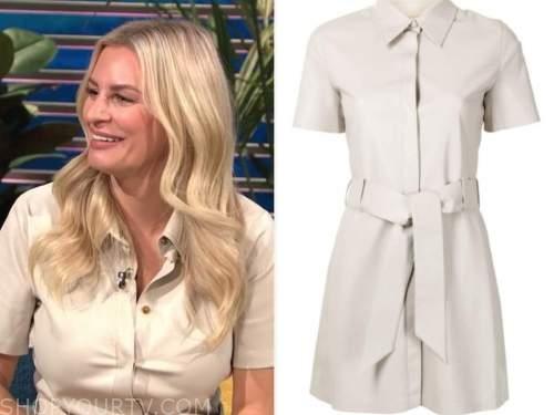 Morgan Stewart, E! news, daily pop, beige leather shirt dress