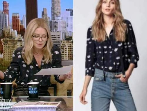 Kelly Ripa, live with kelly and Ryan, navy blue dot blouse