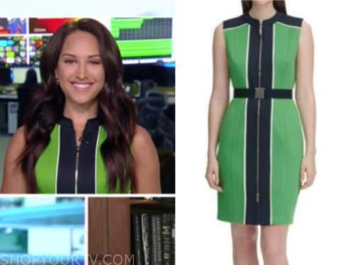 Emily compagno, outnumbered, green and blue colorblock dress