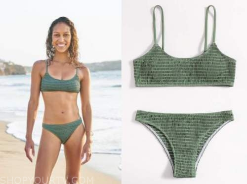 Serena Pitt, bachelor in paradise, green smocked bikini