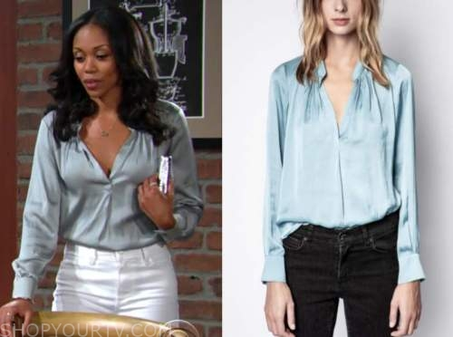 Amanda Sinclair, mishael Morgan, the young and the restless, blue blouse