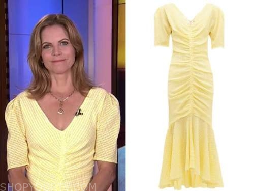 Natalie Morales, yellow ruched dress, the today show