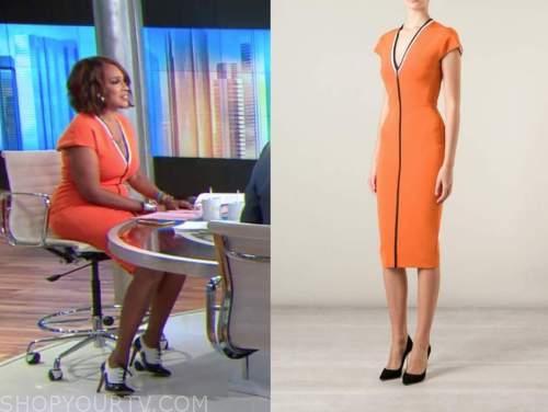 Gayle king, orange dress, cbs this morning