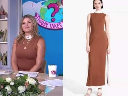 Jenna bush hager, the today show, brown contrast trim midi dress