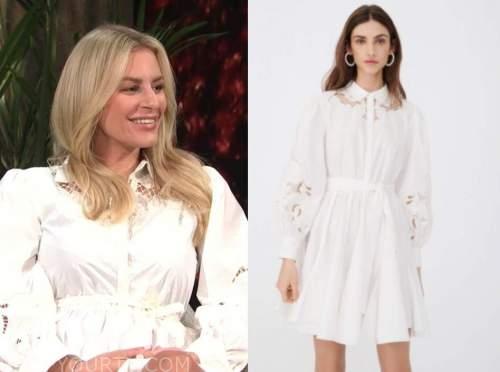 Morgan Stewart, E! news, daily pop, white lace shirt dress
