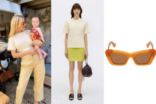 Morgan Stewart, orange sunglasses, yellow top