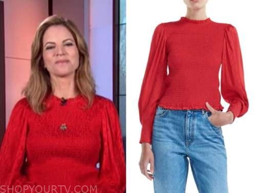 Natalie Morales, the today show, red smocked top