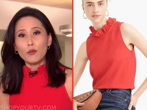 Vicky Nguyen, the today show, red ruffle mock neck top