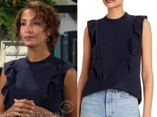 lily winters, Christel khalil, the young and the restless, navy blue ruffle top