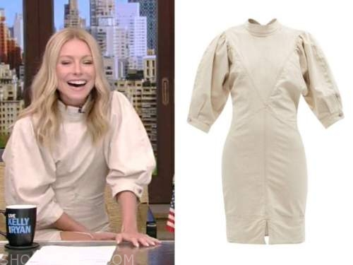Kelly Ripa, beige mock neck dress, live with kelly and Ryan