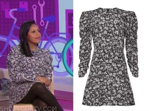 Sheinelle Jones, the today show, floral puff sleeve mini dress