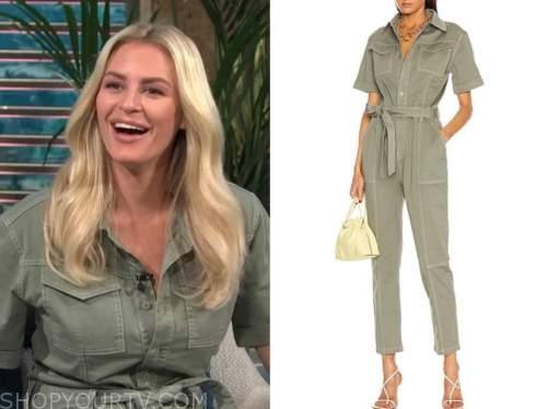 Morgan Stewart mcgraw, green utility jumpsuit, E! news, daily pop