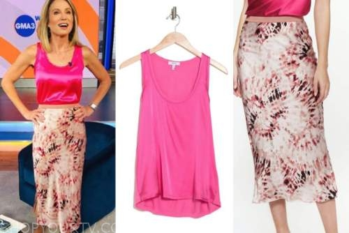Amy Robach, good morning America, pink silk top, printed silk skirt