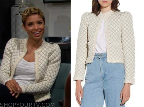Elena Dawson, brytni sarpy, the young and the restless, Ivory quilted jacket