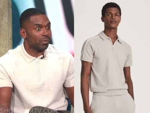 Justin Sylvester, E! news, daily pop, ivory zipper polo shirt