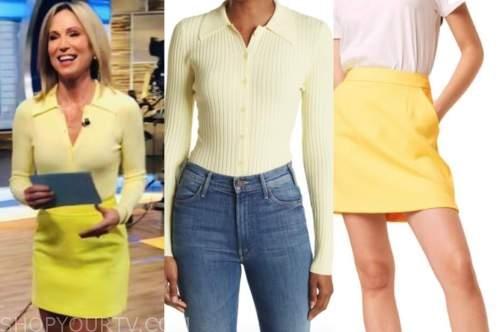 Amy Robach, good morning America, yellow knit top, yellow skirt
