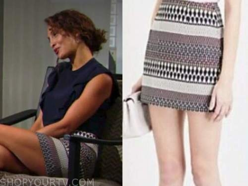 lily winters, Christel khalil, striped skirt, the young and the restless