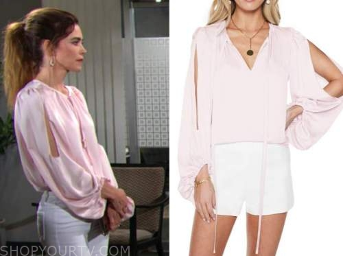 Victoria Newman, Amelia heinle, the young and the restless, pink tie neck split sleeve blouse