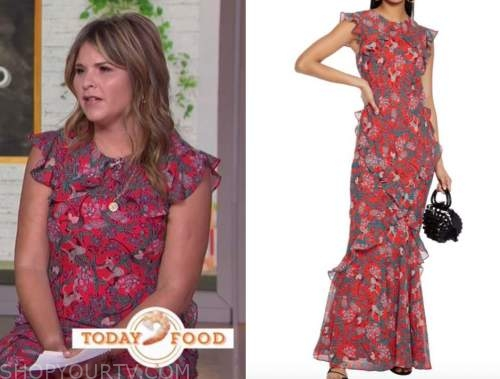 Jenna bush hager, the today show, red printed ruffle maxi dress
