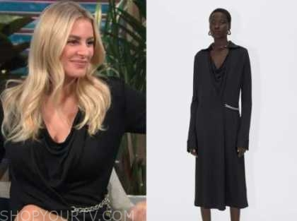 Morgan Stewart, black chain wrap dress, E! news, daily pop