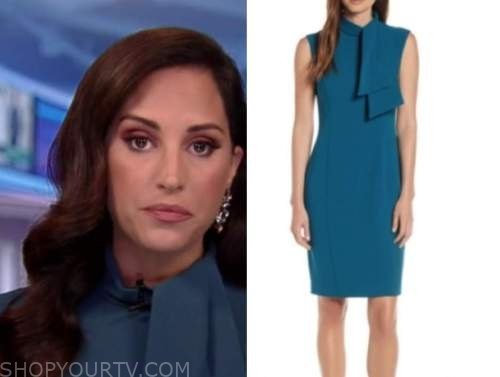 Emily Compagno, outnumbered, teal tie neck sheath dress