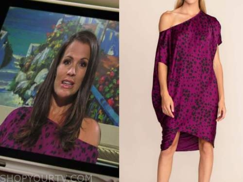 Chelsea newman, the young and the restless, Melissa Claire Egan, purple leopard dress