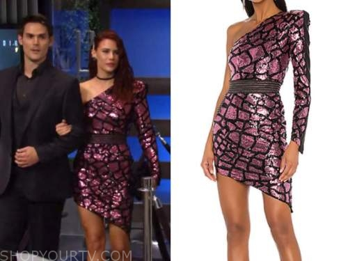 sally spectra, Courtney hope, the young and the restless, pink sequin dress